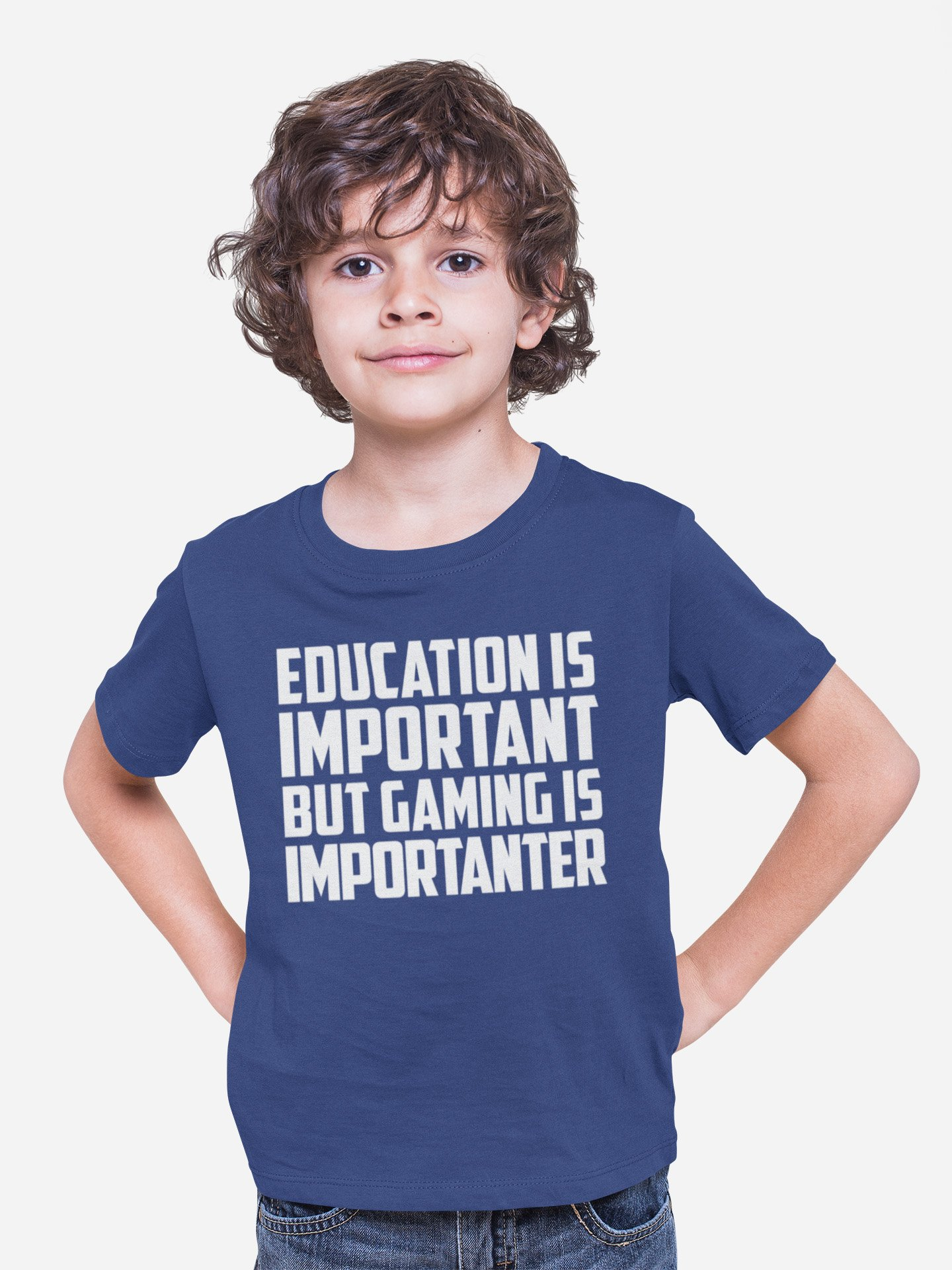 Education is Important Gaming Is Importanter Kid/'s T-Shirt Children